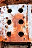 在机械的生锈的铁转弯 免版税库存照片