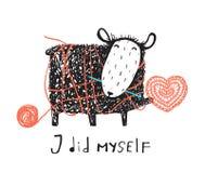 在杂乱毛线的有鳍的钩编编织物的绵羊 库存照片