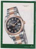 在杂志的海报广告劳力士牡蛎永久Datejust手表从没有任何口号的2005年10月, 免版税库存图片