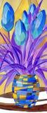 在杂色的花瓶的抽象花 库存例证