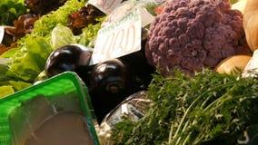 在杂货市场的柜台的各种各样的菜 健康食品,纤维,饮食,在匈牙利语的题字 影视素材