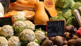 在杂货市场的柜台的各种各样的菜 健康食品,纤维,饮食,在匈牙利语的题字 股票视频