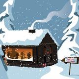 在杆屋顶s圣诞老人季节雪讨论会的背景蓝色装饰的梯度节假日北部 向量例证