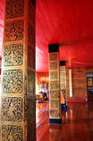 在杆的绘画在Wat Sri密友, Lampang教堂里  免版税库存照片