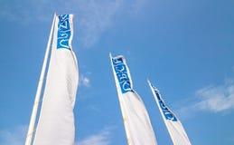 在杆的OSCE旗子 免版税库存图片