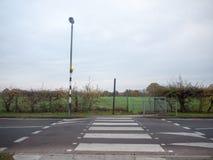 在杆街灯之外的清楚的路斑马线路 免版税库存图片