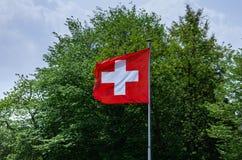 在杆2的瑞士旗子 库存照片