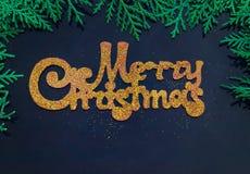 在杉木分支围拢的蓝色背景的金黄题字圣诞快乐  库存照片