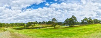 在杉木森林里面的全景高尔夫球在大叻市,越南 库存照片