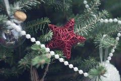 在杉树的一个红色wite玩具星分支 免版税库存图片