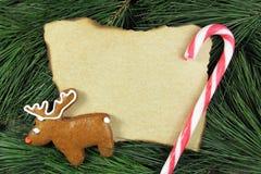 在杉树的空白的圣诞卡用驯鹿姜饼和藤茎 免版税库存照片