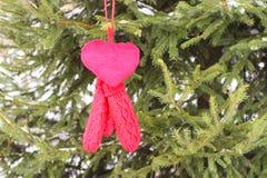 在杉树绿色分支的红色手套 免版税库存图片