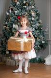 在杉树附近的小女孩与圣诞节礼物 微笑 免版税图库摄影