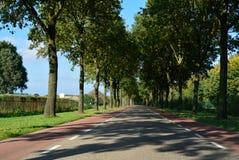 在村庄之间的荷兰路有自行车道路的,运输我 免版税库存照片