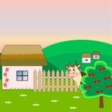 在村庄庭院的母牛 免版税库存照片