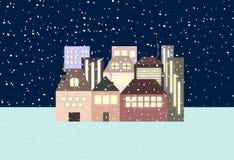 在村庄的夜降雪 诗 库存例证