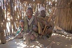 在村庄的非洲家庭 免版税库存图片