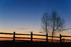 在村庄篱芭的黎明 库存照片