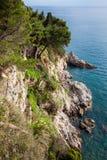 在杜布罗夫尼克市海岸的美丽的峭壁  免版税库存图片