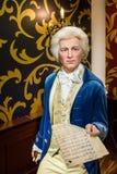 在杜莎夫人蜡象馆蜡博物馆的沃尔夫冈・阿马德乌・莫扎特小雕象 免版税库存图片