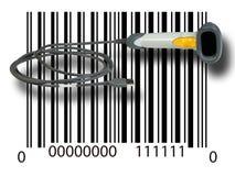 在条形码的扫描器 免版税库存图片