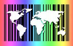 在条形码背景的世界地图 库存照片