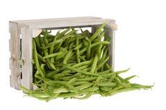 在条板箱的新鲜的青豆 库存照片
