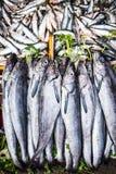 在条板箱的Freesh鱼在地方食物市场上在非洲 免版税库存图片