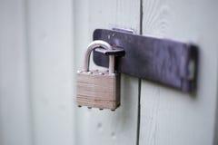 在杨柳庭院棚子的安全挂锁 库存图片