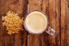 在杯上看法啤酒用在基地的麦子在一张木桌上在木背景中 免版税库存图片