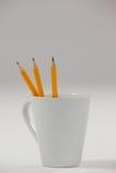 在杯子保留的三支铅笔 免版税图库摄影