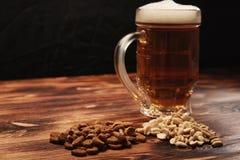 在杯子和快餐的啤酒光 免版税库存图片