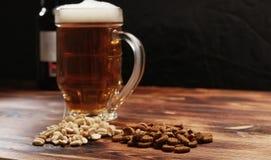 在杯子和快餐的啤酒 库存照片