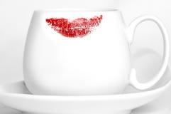在杯子的唇膏 免版税图库摄影