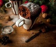在杯子的圣诞节蛋糕,杯子蛋糕 免版税图库摄影