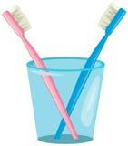 在杯子的夫妇牙刷 库存照片