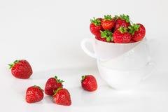 在杯子的新鲜的草莓 库存图片