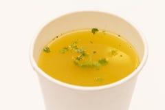 在杯子的汤 免版税图库摄影