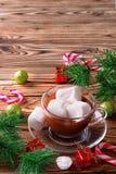 在杯子的热巧克力用蛋白软糖 免版税图库摄影