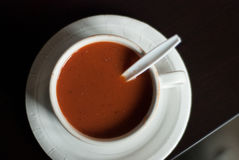 在杯子的蕃茄汤有匙子和板材和调味料顶视图 免版税库存图片