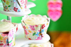 在杯形蛋糕立场的杯形蛋糕 免版税库存照片