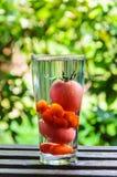 在杯的蕃茄在自然背景的水 库存图片