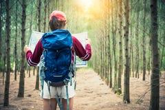 在松木的女性游客旅行在假期时绊倒远足 旅行和狂放的自然概念 妇女的生活方式和活动 库存图片