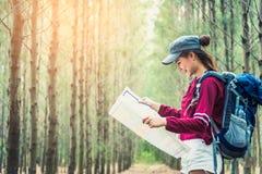 在松木的女性游客旅行在假期时绊倒远足 旅行和狂放的自然概念 妇女的生活方式和活动 免版税库存图片