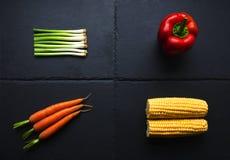 在板岩基地的四棵菜 免版税库存图片