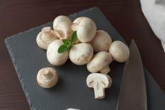在板岩板的蘑菇与刀子 库存照片