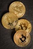 在板岩背景的Bitcoin硬币 免版税图库摄影