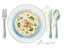 在板材、利器和餐巾的水彩奶油色汤 向量例证