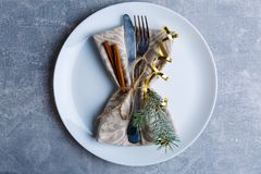 在板材上,被服务利器用树枝、肉桂条和丝带装饰 圣诞节大气 免版税图库摄影