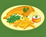 在板材传染媒介的炸鱼加炸土豆片 库存图片